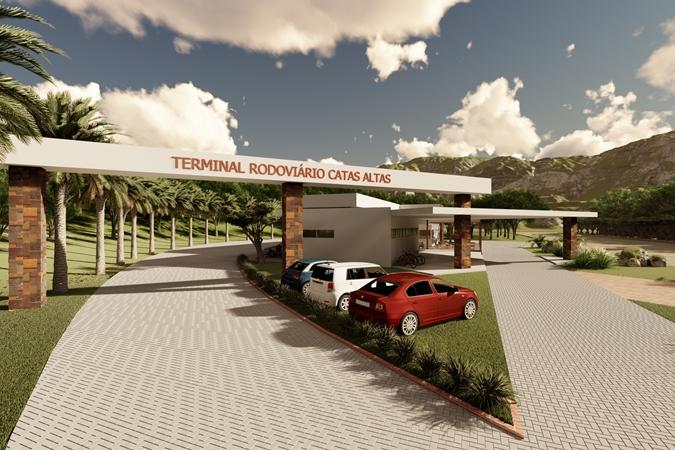Prefeitura de Catas Altas divulga imagens em 3D do terminal rodoviário e da nova sede da Guarda Municipal